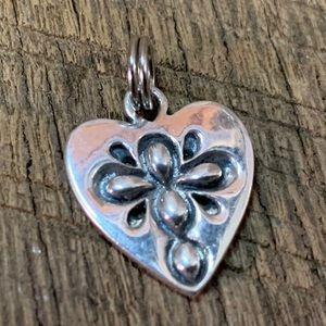 Sterling Silver Cross on Heart Charm